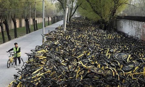 The graveyard for #publicbikes here in #Chengdu ? @jenna_zh