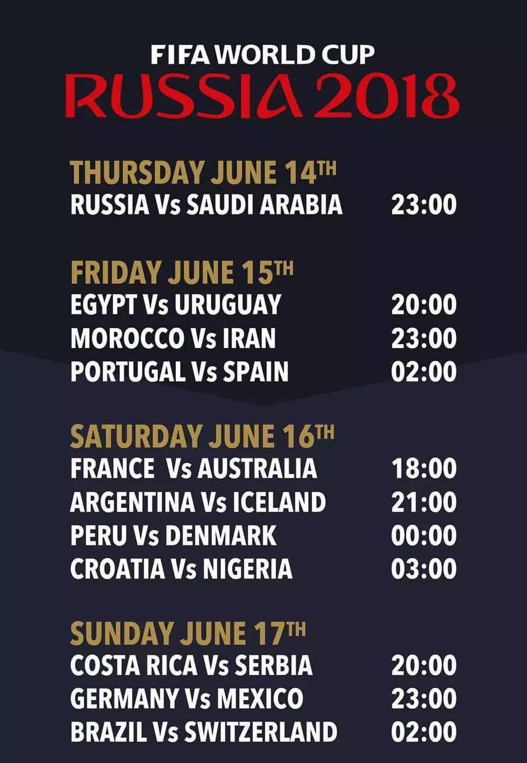 fifa 18 world cup schedule