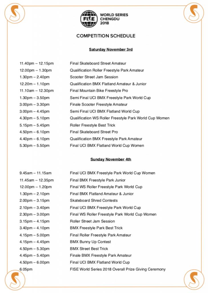 FISE Chengdu Competition Schedule | Chengdu Expat