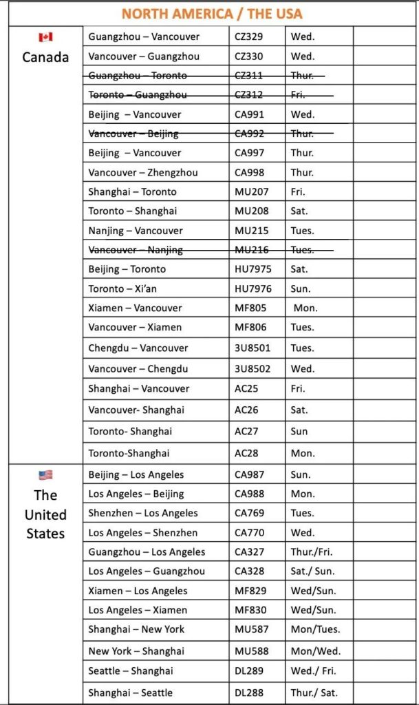 June 2021 flights in and out of China